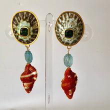 Vermeil, Limpet and Stone Pierced Earrings