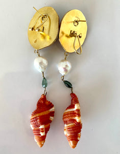 Cockle, Tourmaline, Pearl Vermeil Earrings