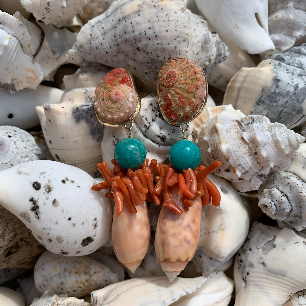 Rare Abalone and Coral 14-Karat Gold Earrings