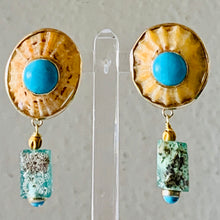 Yellow Limpet and Turquoise 14-K Gold Earrings
