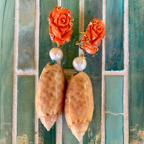 Carved Italian Coral, Pink Olive 14-Karat Gold Earrings