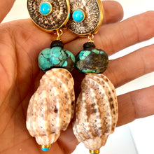 Antique Carved Turquoise Vermeil Earrings