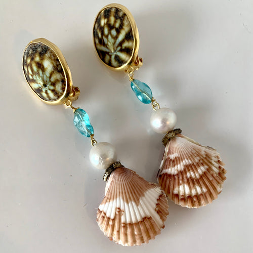 Apatite, Pearl, Scallop Vermeil Earrings
