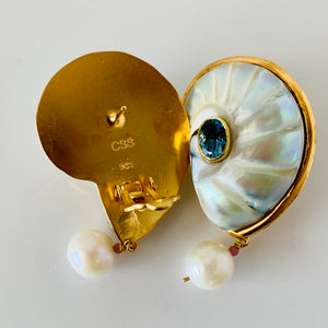 Pearled Nautilus, Pearl, London Topaz Vermeil Earrings