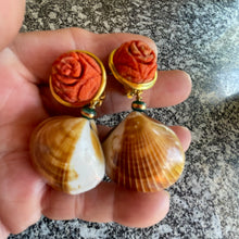 Carved Coral, Jade and Cockle Vermeil Earrings