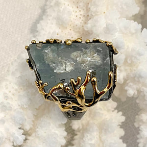 Rutilated Aquamarine Ring, Vermeil