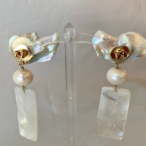 Baroque Pearls, Carved Abalone 14-Karat Gold Earrings