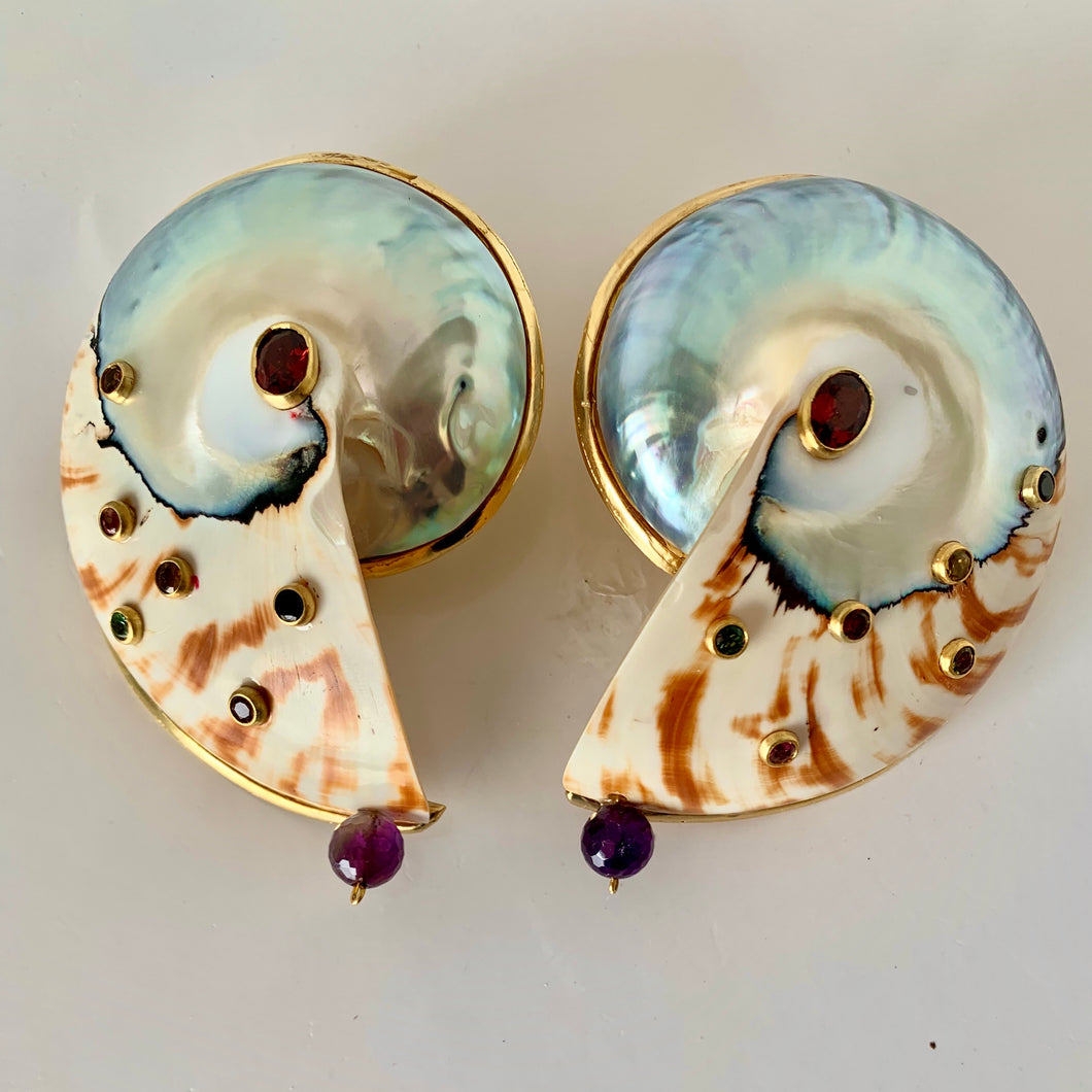 Bold Nautilus, Gemstone Vermeil Earrings