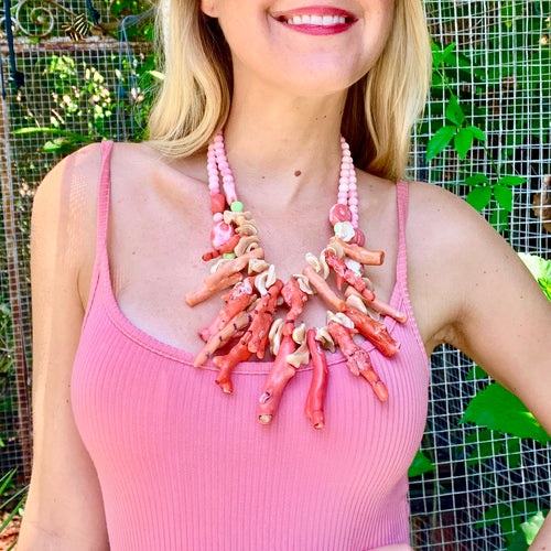 Lusty Coral, Cut Shell Necklace