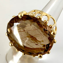 Rutile Smoky Quartz Vermeil Ring