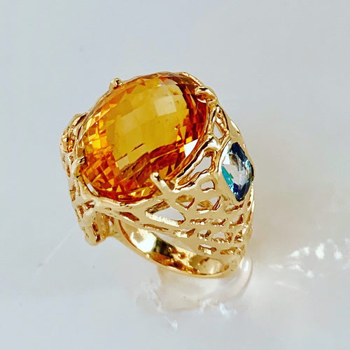 Big Fat Citrine, Alexandrite 14-Karat Gold Ring
