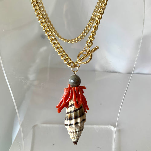 Single Shell, Coral Fob Necklace