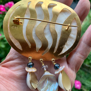 Big Mushroom Coral Brooch with Gems