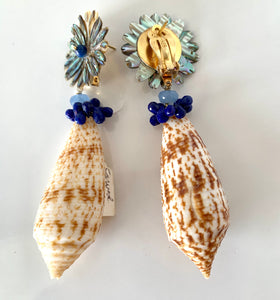 Kyanite, Lapis Shell Vermeil Earrings