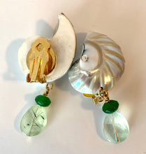 Pearled Nautilus, Emerald Clip Earrings