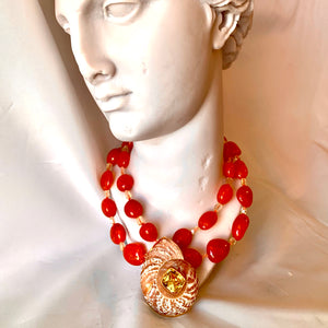 Carnelian, Peridot and Shell Necklace