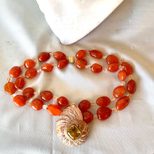 Carnelian, Lemon Quartz and Shell Necklace
