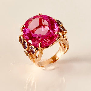 Electric Pink Topaz, 14-K Gold Tanzanite Ring