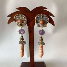 Spotted Scallop, Coral Pierced Vermeil Earrings