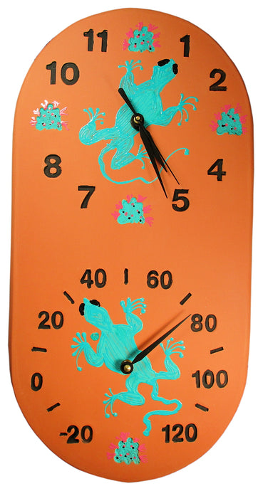 Southwest Gecko Clock/Thermometer Combo