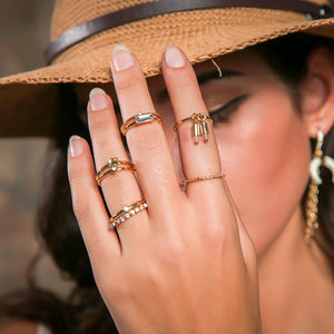 Rayen | Rhinestone and Bullets Ring Set