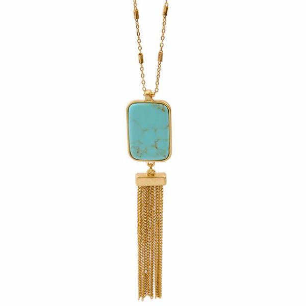 Talea | Turquoise and Tassel Necklace