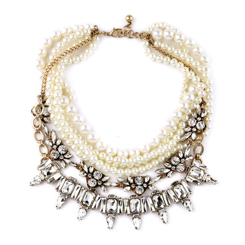 Rivage | Rhinestone and Pearl Necklace