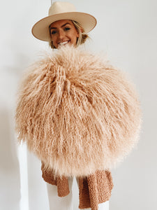 Blush Shaggy Fur Pillow