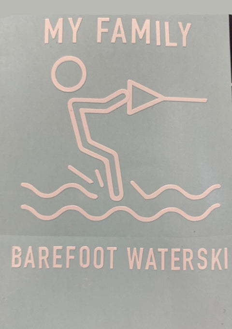 MY FAMILY BAREFOOT WATERSKI - WINDOW STICKER