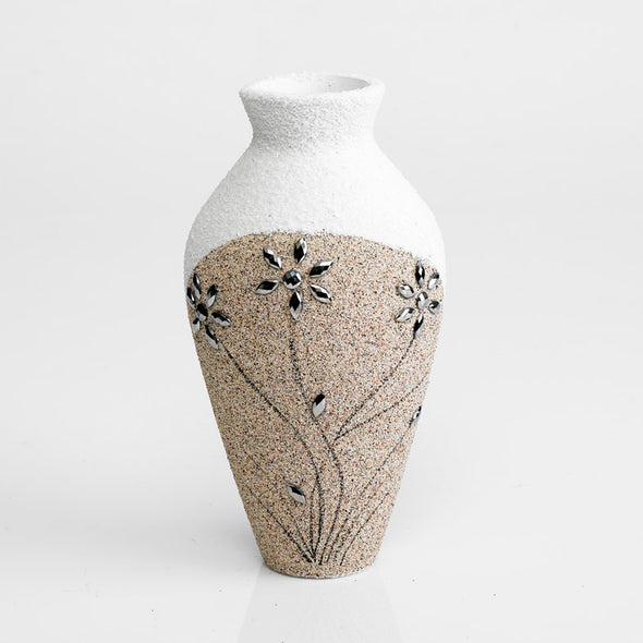 Brown & White Hand-Finished Sand Textured Vase