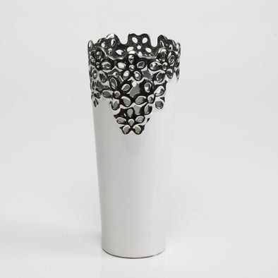 Modern Decorative Vase White Silver Designed