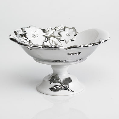 Majestic White Silver Diamond Bowl Stand