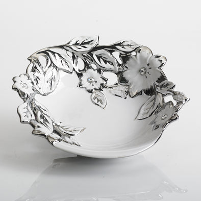 Majestic White Silver Diamond Bowl