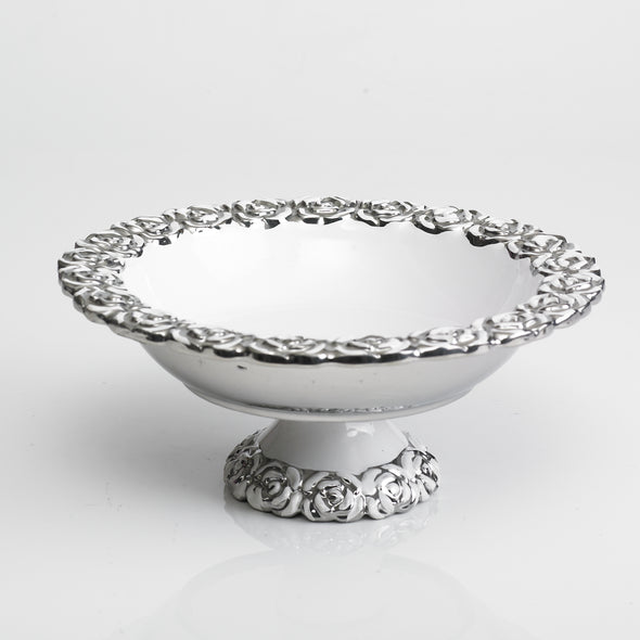Modern White Silver Rosette Bowl Stand (Large)