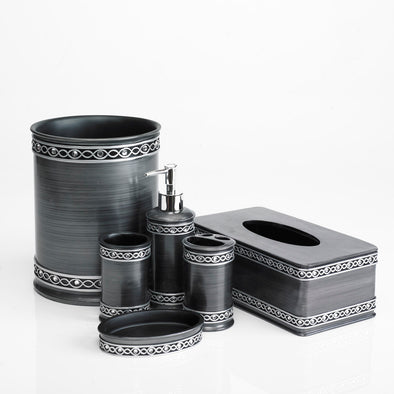 Silver Designed Modern Charcoal Bathroom Accessory Set Of 6