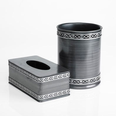 Silver Designed Modern Charcoal Bathroom Accessory Set Of  2