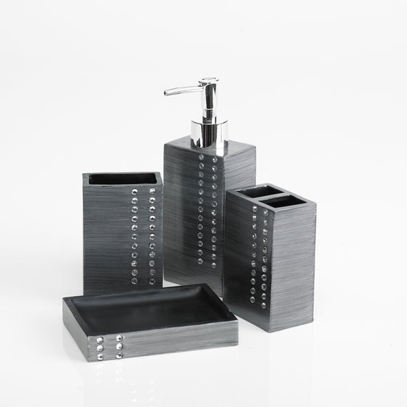 Diamond Lined Charcoal Bathroom Accessory Set Of 4