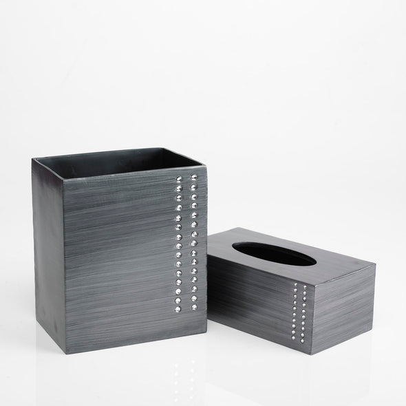 Diamond Lined Charcoal Bathroom Accessory Set Of 2