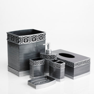 Grey Brussels Designed Charcoal Bathroom Accessory Set Of 6