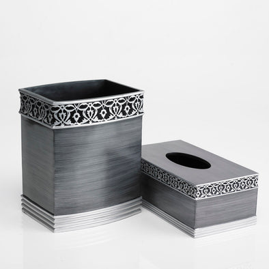 Grey Brussels Designed Charcoal Bathroom Accessory Set Of 2