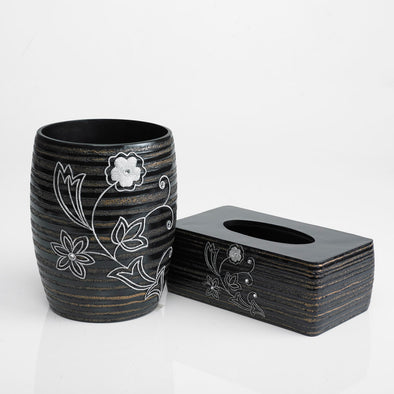 Raya Brown/Black Flower Engraved Bathroom Accessory Set Of 2