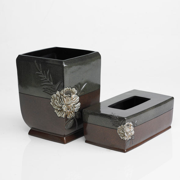 Sheesham Mahogany/Khaki Flower Engraved Bathroom Accessory Set Of 2