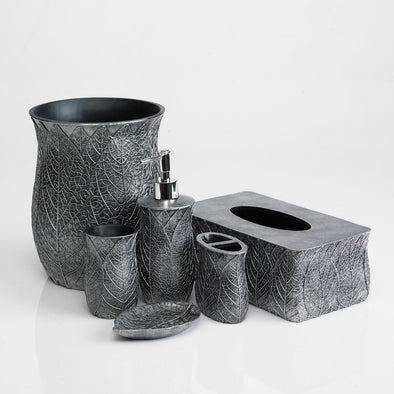 Grey Crackled Leaf Bathroom Accessory Set Of 6