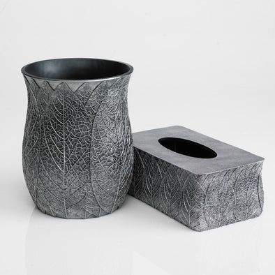 Grey Crackled Leaf Bathroom Accessory Set Of 2