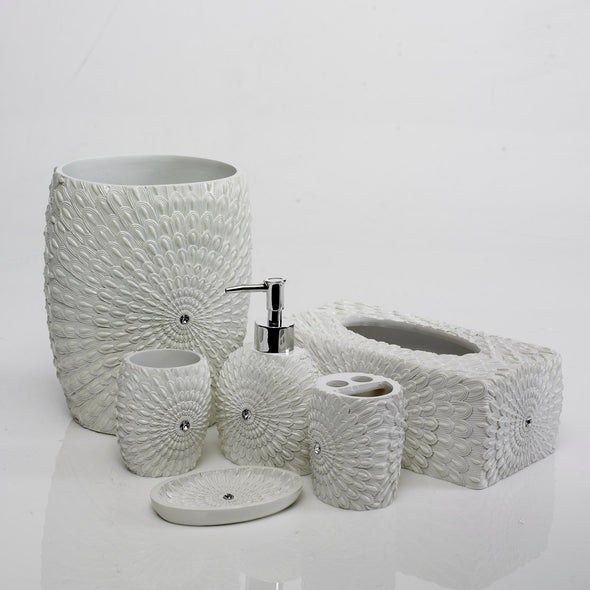 Feather-Star White Bathroom Accessory Set Of 6