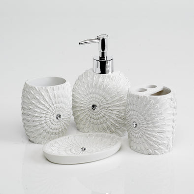 Feather-Star Bathroom Accessory Set Of 4