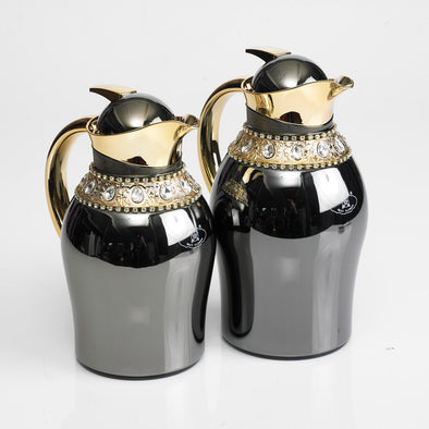 Classic Diamante Gold Balanced Silver/Grey Flask Set