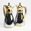 Classic Diamante Gold Balanced Silver Flask Set