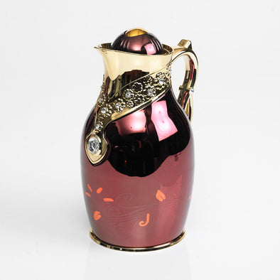 Classic Diamante Gold & Maroon Flask