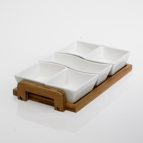 Modern Bamboo Pickle & Dip Bowl Set